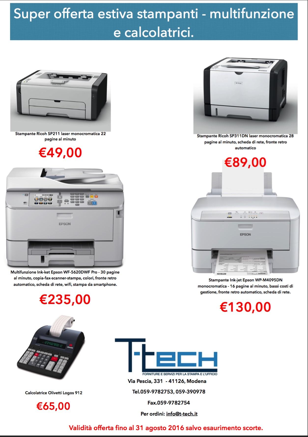 Agosto bollente - stampanti in super offerta